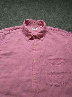 UNIQLO Pink Linen Shirt Short Sleeve Size L