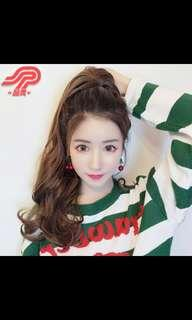 (NO INSTOCKS!) Preorder korean large wave ribbon tie on ponytail hait extension * waiting time 15 days after payment is made * chat to buy to order