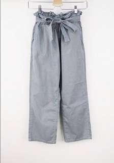 🚚 正韓藍綠色綁帶鬆緊寛褲