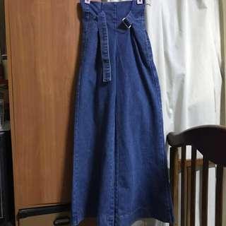 🚚 全新正韓深藍色牛仔寛褲