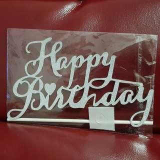 BN Glitter Happy Birthday/One Cake Toppers