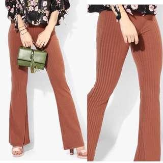 Forever 21 flared ribbed pants rust