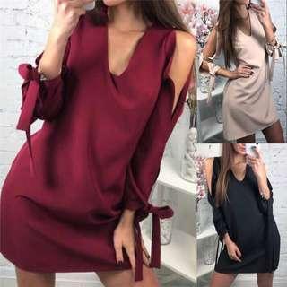 全新 V領性感露肩綁帶洋裝 size:S/XL