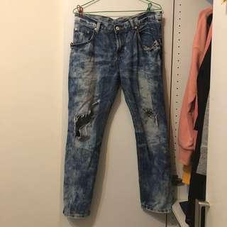 🚚 刷破暈染深色牛仔長褲 M號 #衣櫃大掃除