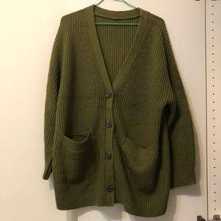 🚚 (二手9成新) 墨綠厚針織外套 #衣櫃大掃除