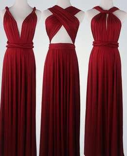 Burgundy Long Inifinity Dress