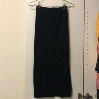 🚚 (二手) 黑色開岔針織裙 中長裙 #衣櫃大掃除