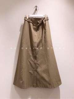 韓國 D字環腰帶長裙-深卡其-S
