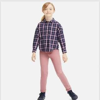 ♡Girls Flannel Checked Long Sleeve Shirt in Navy