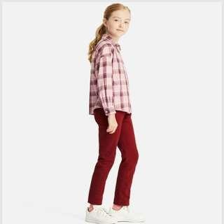 ♡Girls Flannel Checked Long Sleeve Shirt in Pink