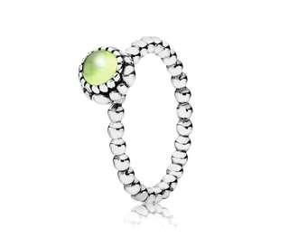 Pandora Silver Beaded Chrysoprase August Birthstone Ring (Size 50/US 5.5)