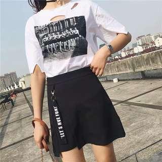 🚚 韓版百搭字母織帶裝飾高腰顯瘦短裙