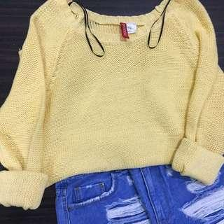 H&M DIVIDED Pastel Yellow Knitted Pullover/Sweater