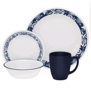 Promo🎈Corelle Livingware True Blue 16-pc Dinnerware Set, White