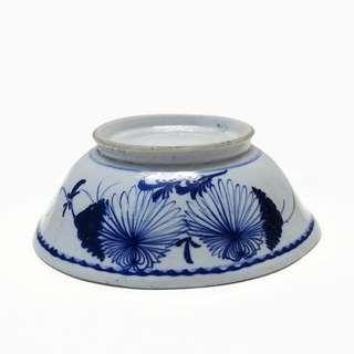 Large Size Hand Painted Blue & White Antique Bowl