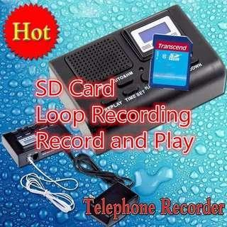 🚚 獨立式 市話 密錄 盒 電話 秘錄 器 MP3 室話 自動 循環 錄音機 記憶 插 卡 蒐證 自保 神器 室內 telephone recording box SD card phone call voice spy recorder
