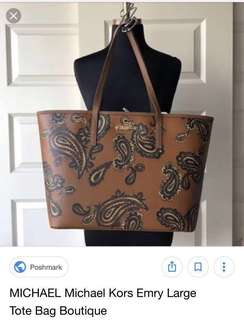 f180dc0d56ca Michael Kors Emry Large Tote Paisley Brown in Saffiano Leather  💯authentic/original - PRELOVED