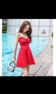 🚚 紅色交叉露背細肩帶雪紡洋裝