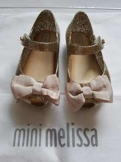 🚚 Mini Melissa Ultragirl Sweet Gold Glitter Size 21 (Brand New)