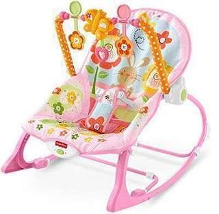 🚚 ~Ready Stocked~ Fisher-Price Infant-to-Toddler Rocker, Bunny floral pink