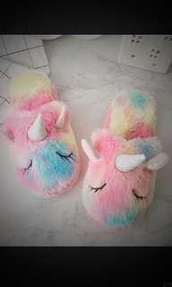 Unicorn slippers 🦄 獨角獸 毛毛保暖拖鞋