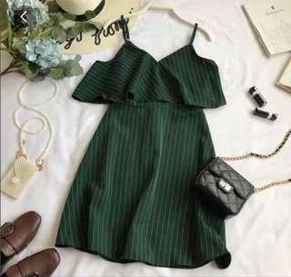 green drop shoulder dress