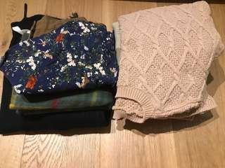 Bundle of woman's jumpers/scraf, skirts