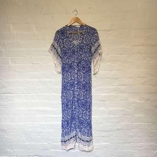 Grace & Co. Blue & White Maxi Dress   Size 8