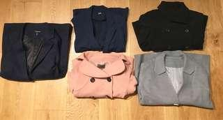 Bundle of 5 jackets/coats