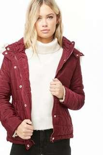 Faux Fur Hood Quilted Jacket
