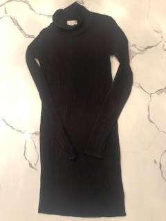 ARITZIA Wilfred free TURTLENECK DRESS/Long Top RIBBED BLACK XXS