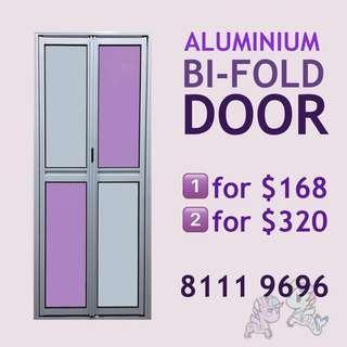 Aluminium bifold door for bathroom, storeroom etc