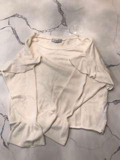 ZARA Knit Long Sleeve Sweater Top CREAM/S