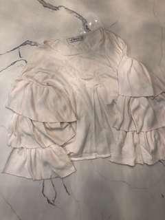ZARA Knit Frill Sleeve Sweater Top CREAM/S