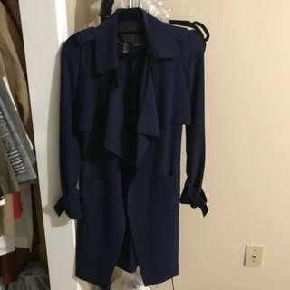 Navy long blazer/trench coat