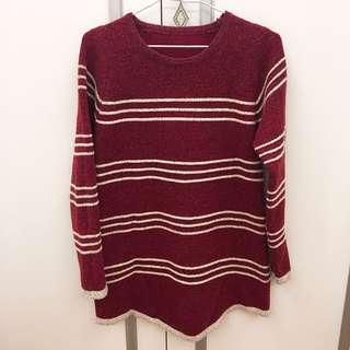 🚚 紅色針織橫紋洋裝#衣櫃大掃除