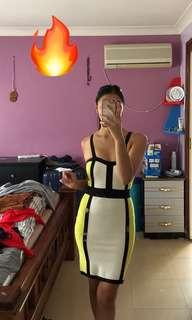 Bandage clubbing dress black white yellow