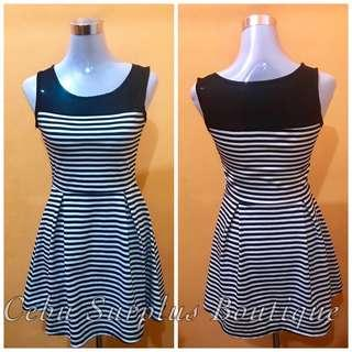 Black&White Stripe See-Through Dress