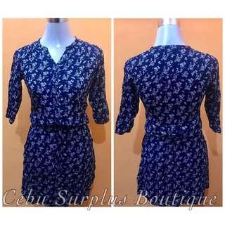 Navy Blue Floral Dress (Brand: Red Girl)