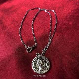 Silver 2-sided coin necklace