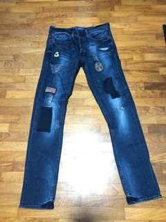 ASOS Men's Blue Wash Slim Jeans with Details