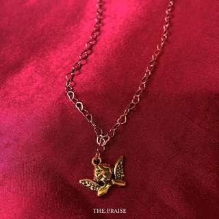 18k gold plated heart chain x angel pendent