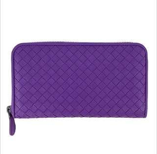 BOTTEGA VENETA 手工編織羊皮拉鍊長夾(紫)9.99新
