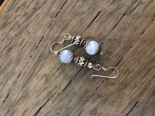 New! Drop earrings silver & light blue