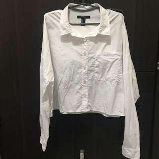 Forever 21 Cropped White Button Down Preloved