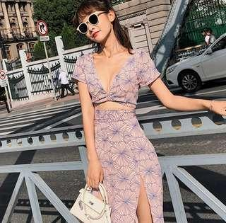 🚚 Summer Maxi Slit Dress Pink Light Purple Blue Artistic Orchid Floral Flower Flowers Fork Pattern Beach Skirt Top Bra Deep V Neck Fairy Tale Tail Ribbon Tie Back Sexy Slim Slimming Fit Fitting Cut