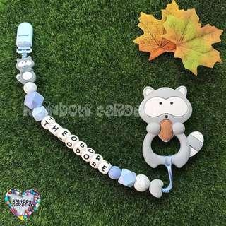 Handmade Silicone beads Pacifier Clip + Grey Raccoon teether combo