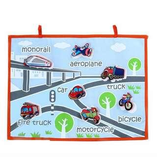 FELT HANDMADE TRANSPORTATION/ VEHICLES LEARNING WALL CHART / HANGING