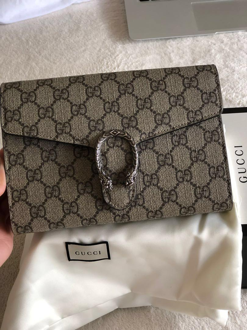 100% authentic Gucci dionysus supreme wallet on chain