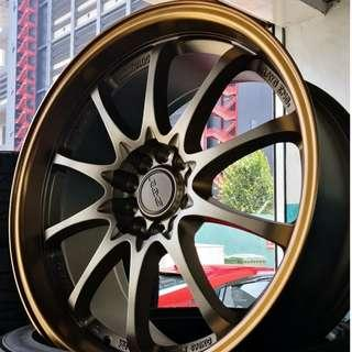 "CE28 18"" Bronze w/ Gold lip DUAL PCD 5x100 / 5x112 (REP)"